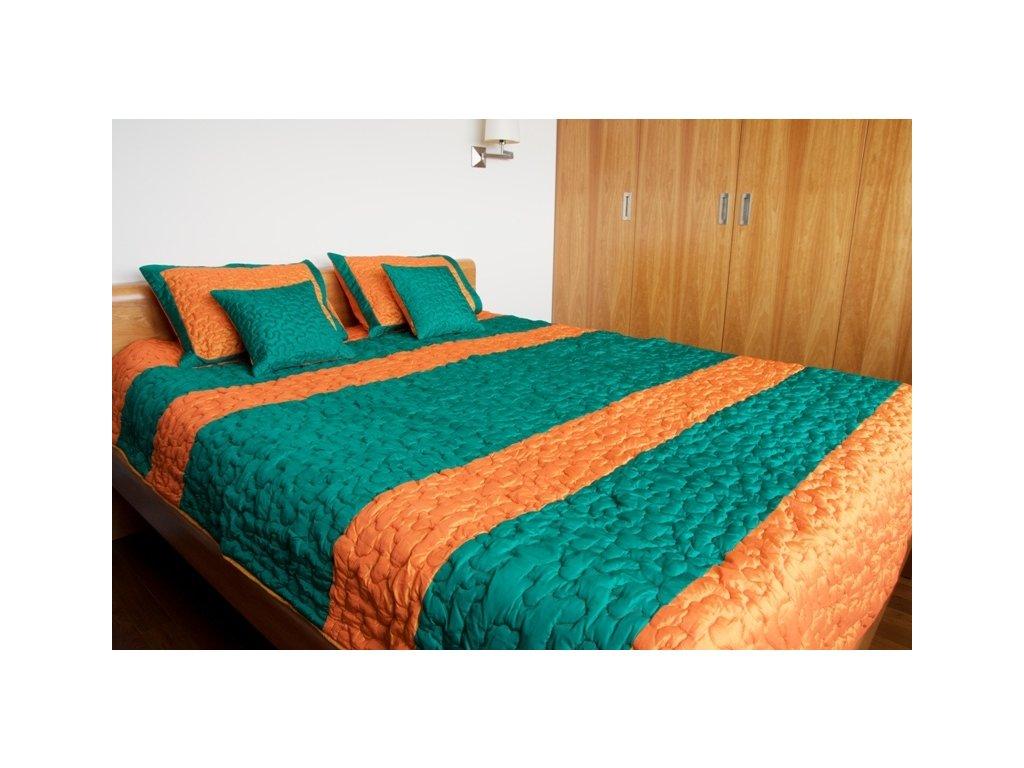 Hedvábný set na postel oranžovozelený