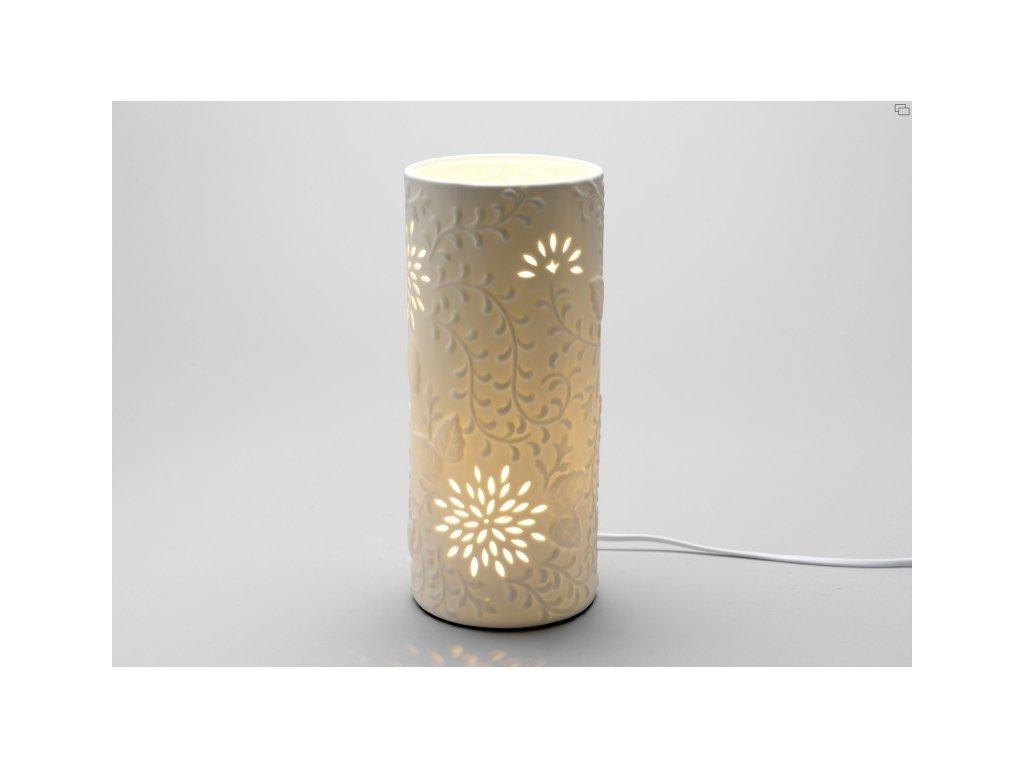 Stolní lampa Flowers, bílá, porcelánová