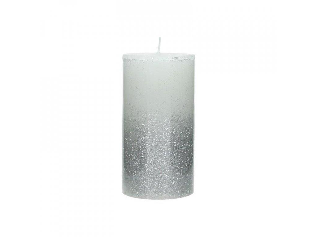 Svíčka bílo-stříbrná velká