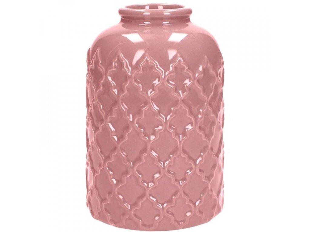 Keramická váza růžová