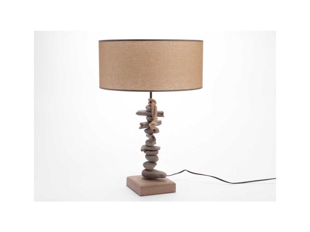 Stolní lampa Raffia, dřevěná noha zdobená
