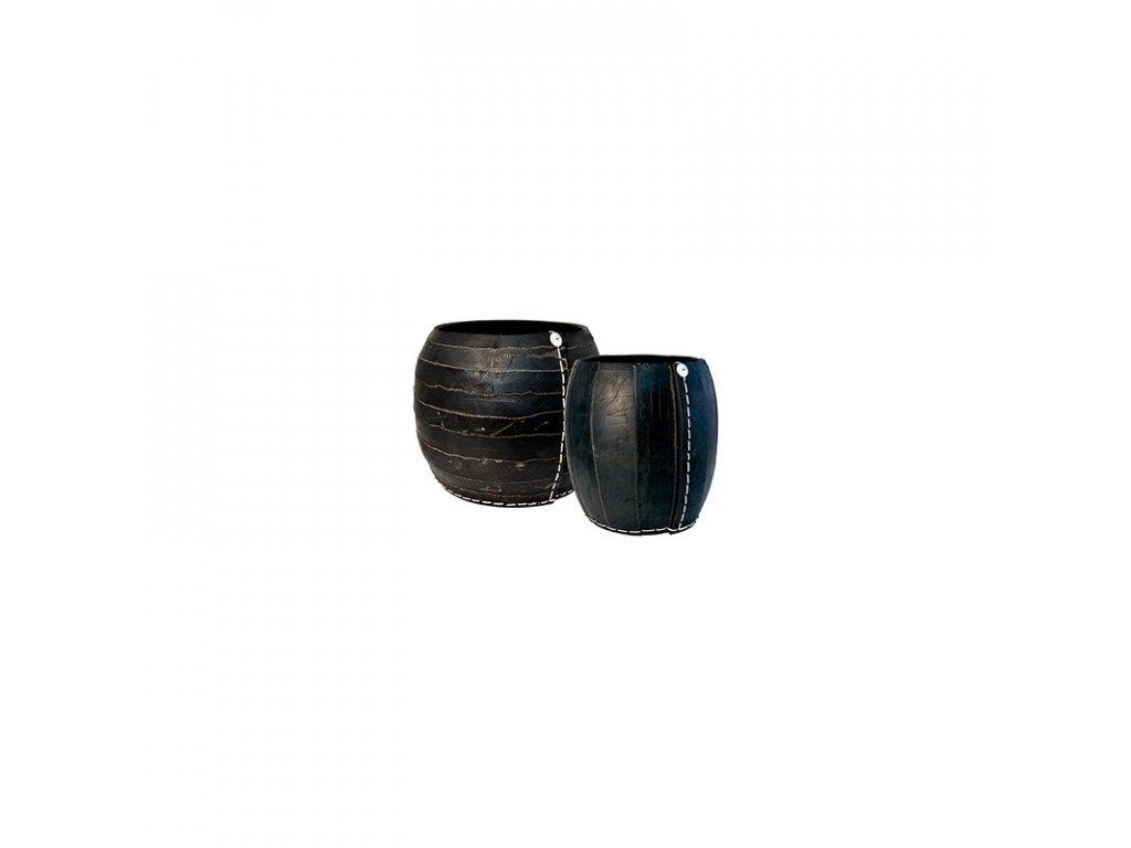 Koš z recyklovaných pneu ve tvaru koule (zebra) velikost L