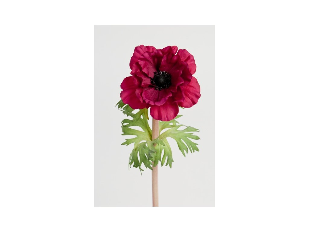 Umělá květina - Sasanka tm. vínová