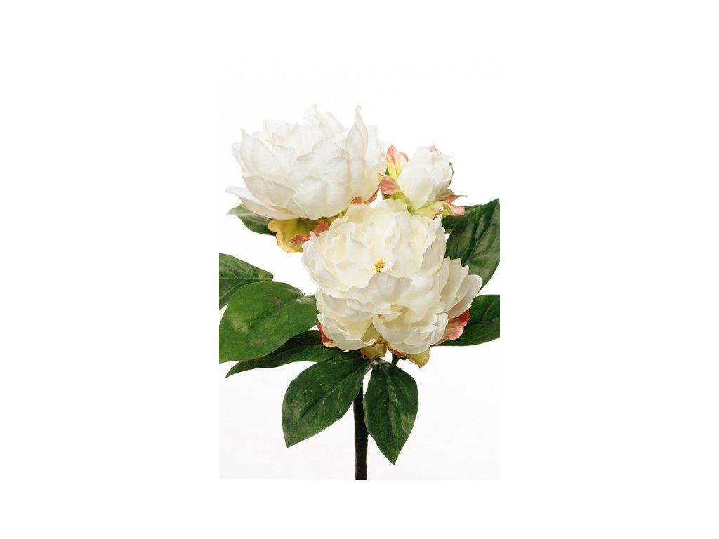 Umělá květina - Pivoňka s poupětem bílá