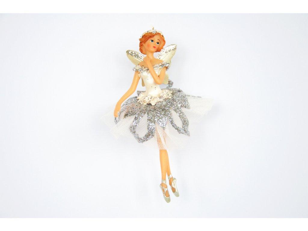 Ozdoba vánoční baletka bílá 15cm
