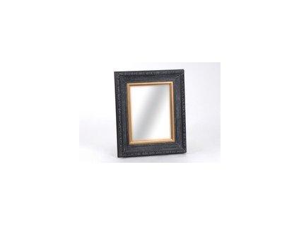Nástěnné zrcadlo, černý rám zdobený