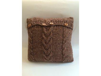 Polštář pletený hnědý