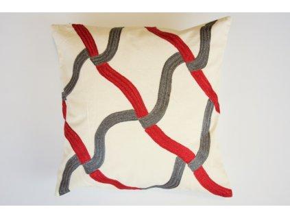 Polštář červeno-šedý ornament