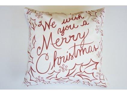 Polštář Merry Christmas bílý