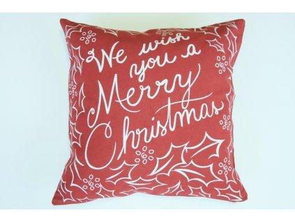 Polštář Merry Christmas červený