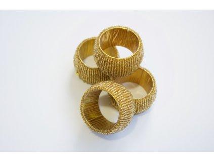 Set 4 kroužků na ubrousky se zlatými korálky