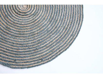 Kruhový koberec z juty a šedé textílie 120