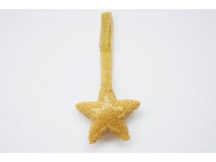 Ozdoba hvězda zlatá korálková