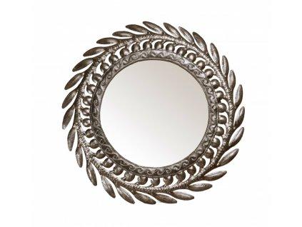 Nástěnné zrcadlo s tepaným rámem, kulaté, R=39cm