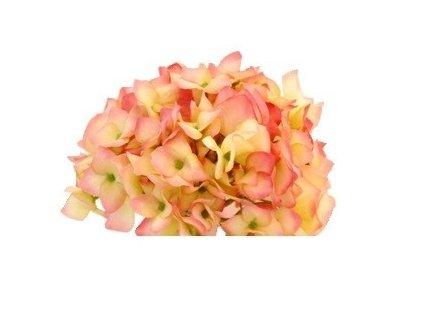Umělá květina - Hortenzie růžová / krémová