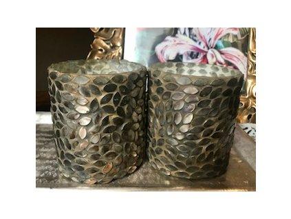 Svícen na čajovou svíčku hnědozlatý 8x8x9cm