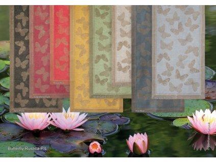 Běhoun na stůl lněný 50x180 zelený s motivem motýlů