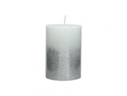 Svíčka bílo-stříbrná malá