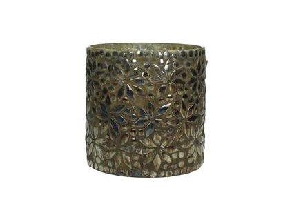 Svícen na čajovou svíčku skleněný, listí, velký