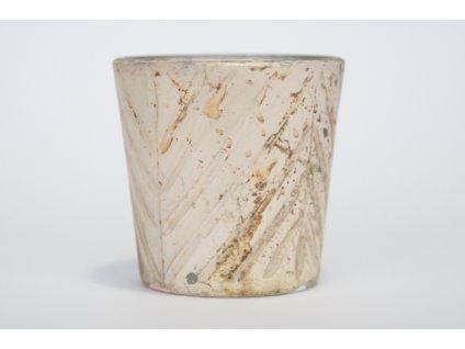 Svícínek sklo metalíza,vzor stromeček