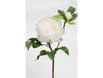 Umělá květina - Pivoňka bílá s poupětem/dlouhý stonek