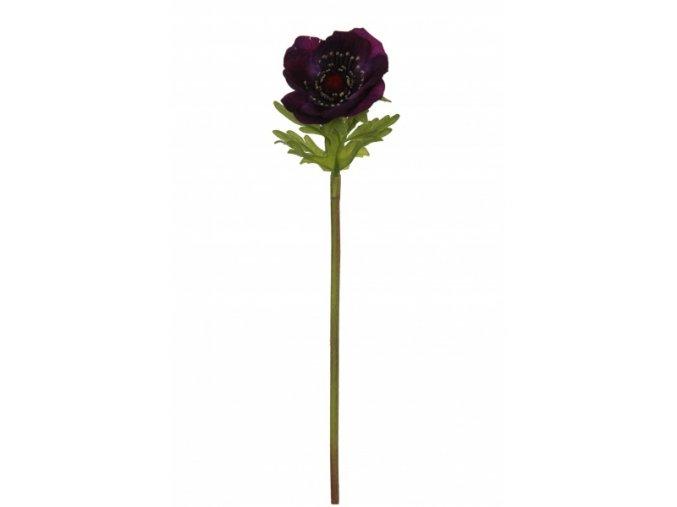 Umělá květina - Sasanka temně fialová