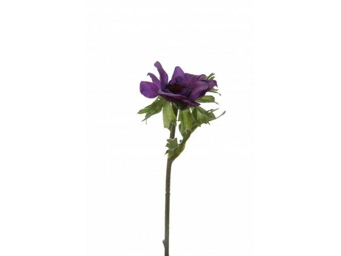 Umělá květina - Sasanka tm.fialová