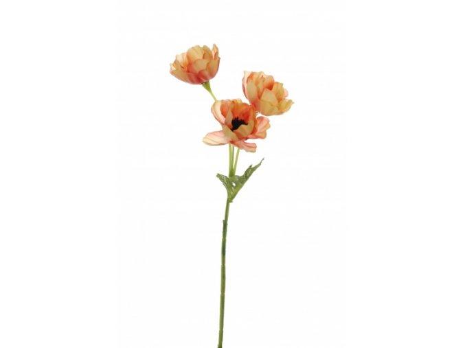 Umělá květina - Sasanka malá oranžová