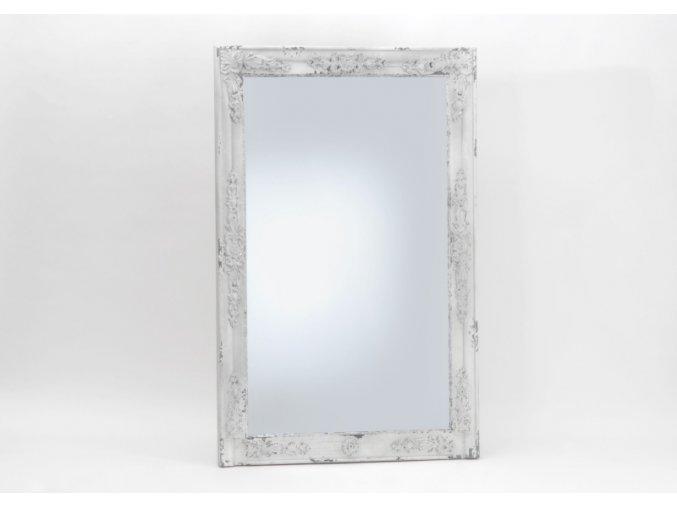 Nástěnné zrcadlo v dřevěném rámu, bílé, zdobené