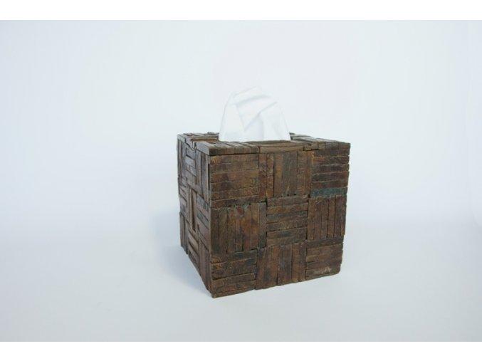 Krabice na kapesníčky hnědá krychle