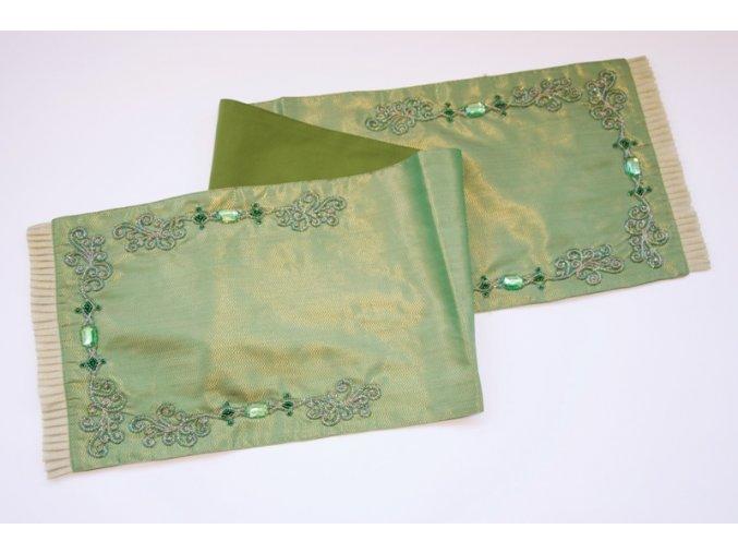 Zdobený zelený běhoun 33x150cm