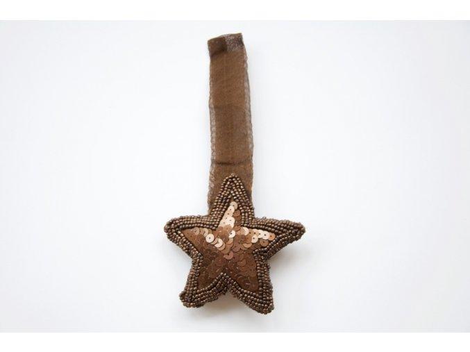 Ozdoba, hvězdička hnědá flitrová
