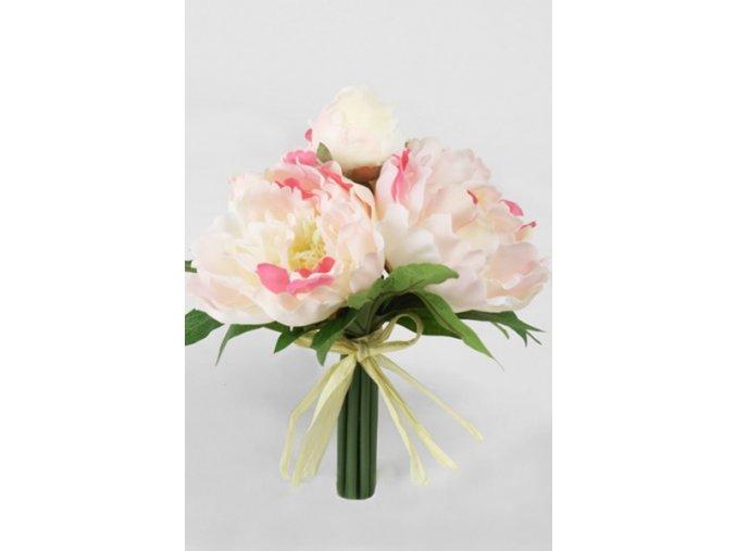 Umělá květina - Pivoňka buket žíhaná růžová
