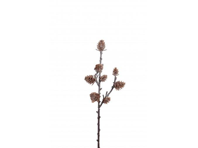 umela-dekorace-vetvicka-zasnezene-sisky-28cm