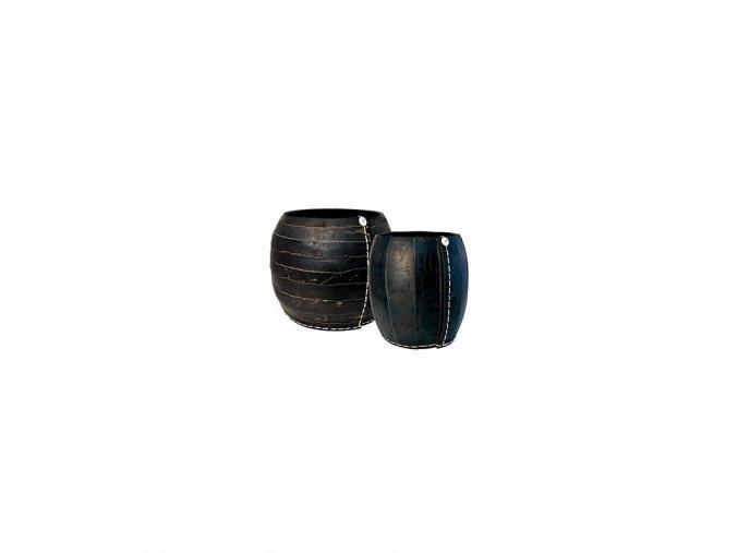 Koš z recyklovaných pneu ve tvaru koule (zebra), velikost S