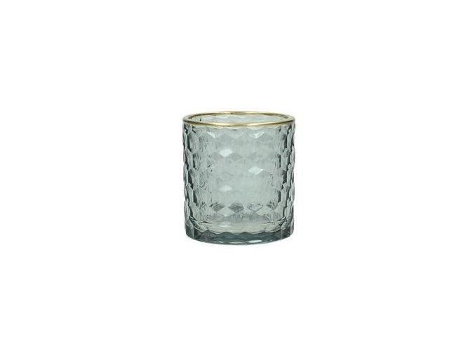 Svícen na čajovou svíčku, šedé sklo, zlatý lem