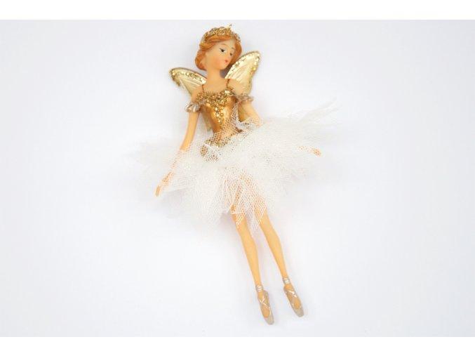 Ozdoba vánoční baletka zlatá 15cm