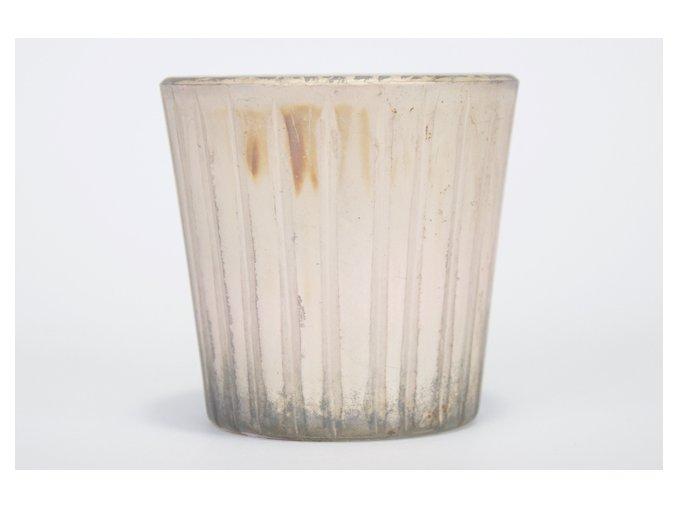 Svícínek sklo metalíza, vzor proužek