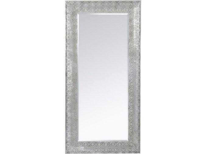 Nástěnné zrcadlo, 160x75 cm, stříbrný rám s filigránským tepáním