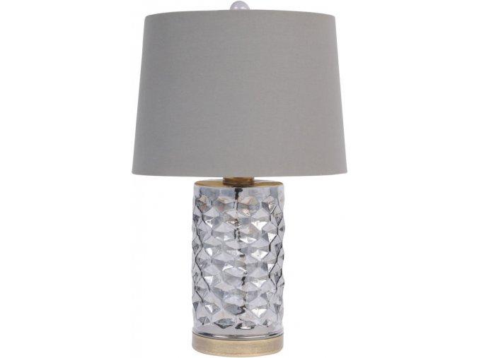 Stolní lampa, šedé, kouřové sklo, hexagony