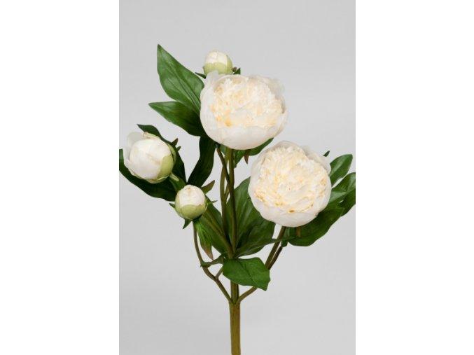 Umělá květina - Pivoňka smetanová svazek