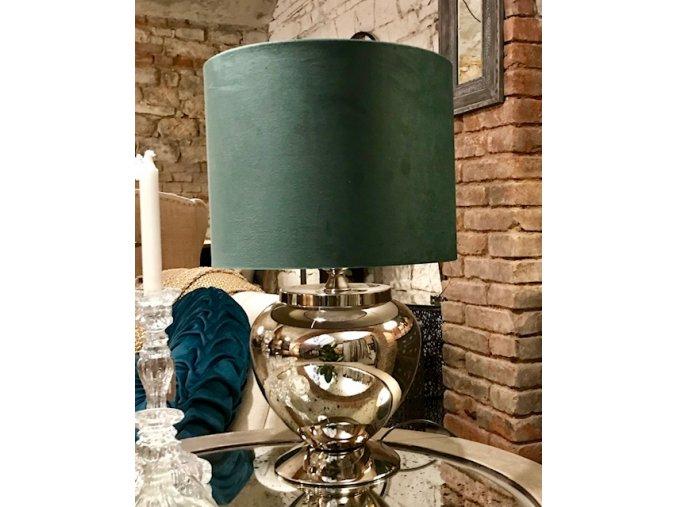 Lampa Valerie stříbrná, stínidlo sametové zelené
