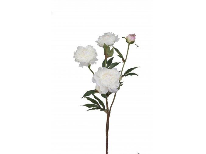 Umělá květina - Pivoňka bílá- 3 květy s poupětem