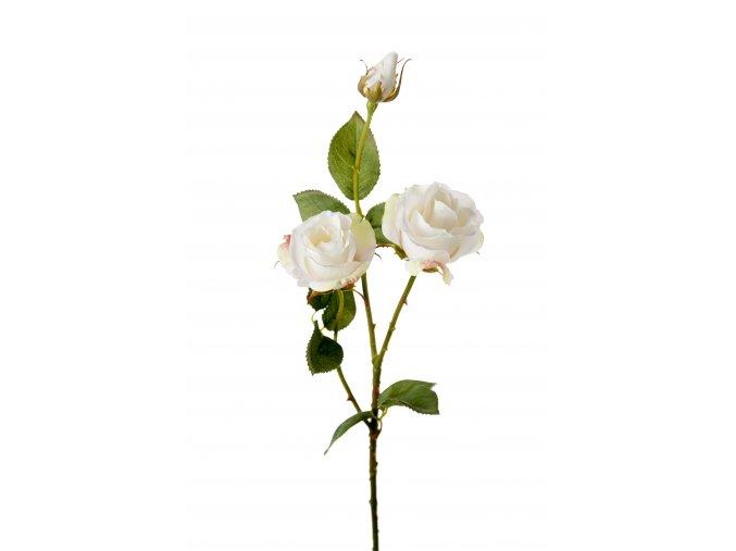 Umělá květina - Růže bílá s poupětem