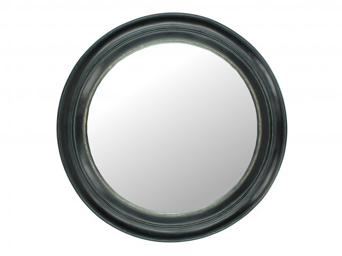 Zrcadlo kulaté černé se zlatou ozdobou
