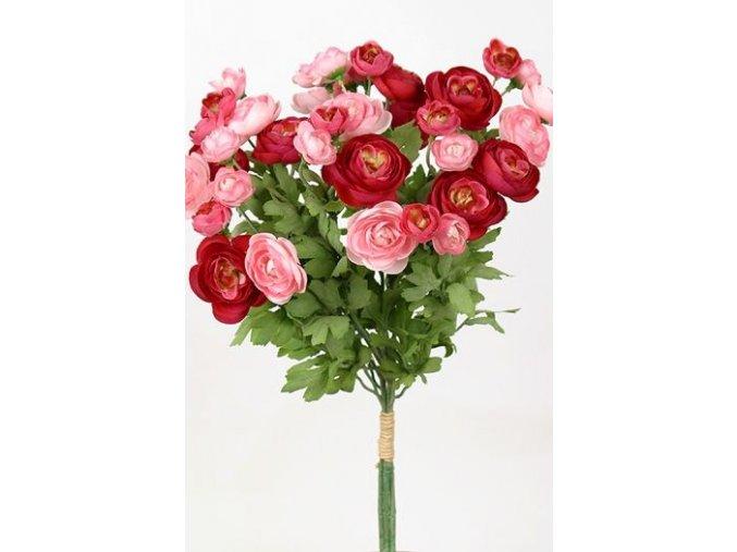 Umělá květina - Pryskyřník červeno-růžový