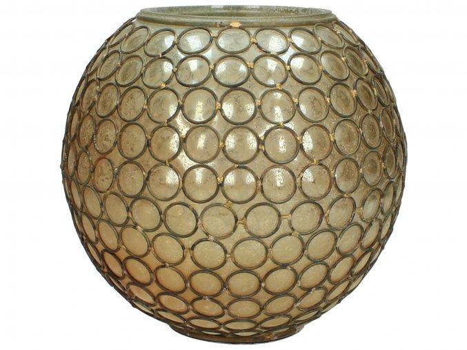 Váza z hnědého skla a drátěnými oky