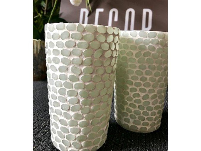 Svícen s mozaikou z kamínků - bílý