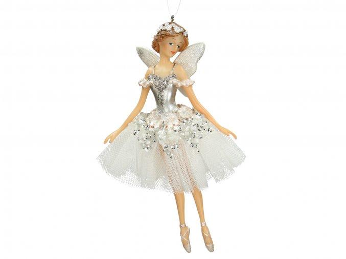 Vánoční ozdoba - Víla balerína bílá 15cm