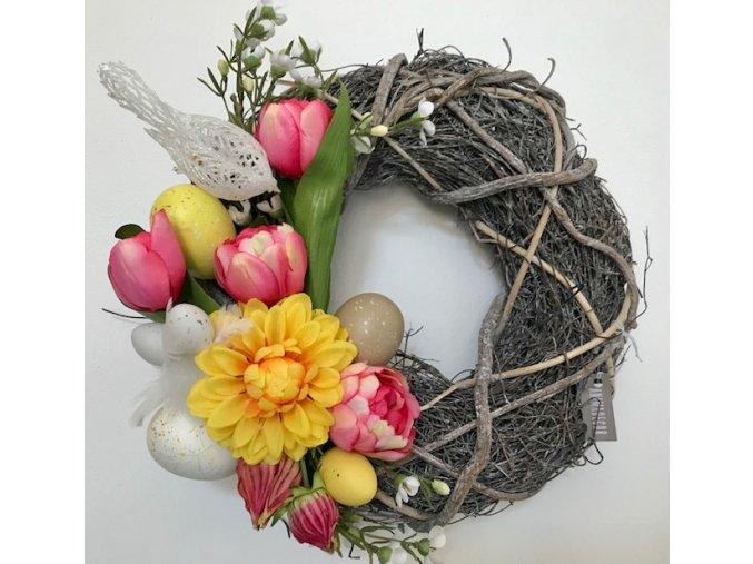 Věnec velikonoční s ptáčkem